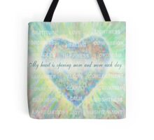 Inspirational Subliminal Art - Heart Chakra Opening Blue - Affirmations Tote Bag