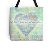 Inspirational Subliminal Art - Heart Chakra Opening Blue - Affirmations Tote Bag