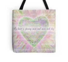 Inspirational Subliminal Art - Heart Chakra Openin - Affirmations Tote Bag