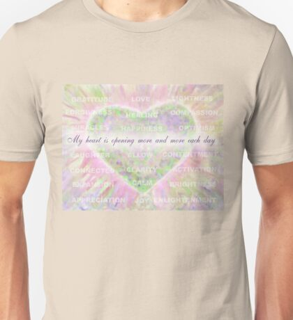 Inspirational Subliminal Art - Heart Chakra Openin - Affirmations Unisex T-Shirt