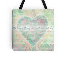 Inspirational Subliminal Art - Heart Chakra Opening - Affirmations Tote Bag