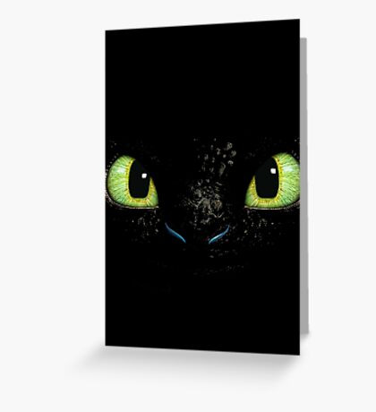 Toothless fiery eyes Greeting Card