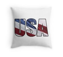 USA in Red White and Blue American Patriotic Flag Throw Pillow