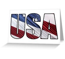 USA in Red White and Blue American Patriotic Flag Greeting Card