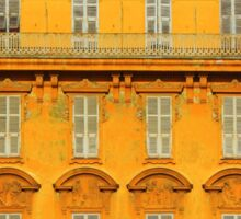 Beautiful ornate yellow building facade in Nice, Cote d'Azur, France Sticker