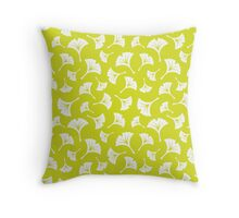 Chartreuse Ginkgo Leaves Throw Pillow