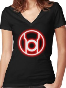 RED LANTERN - RAGE! Women's Fitted V-Neck T-Shirt