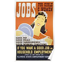 WPA United States Government Work Project Administration Poster 0130 Jobs for Girls and Women Poster