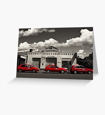 Three Red Cars Greeting Card