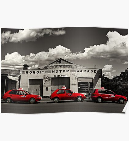 Three Red Cars Poster