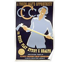 WPA United States Government Work Project Administration Poster 0136 A Young Man's Opportunity Work Play Study Health Poster