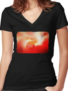 Fire In The Sky Women's Fitted V-Neck T-Shirt