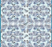 Succulent Motif and Butterfly #  Cerulean Blue by PAPERPLAN