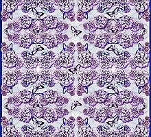 Succulent Motif and Butterfly #  Purple by PAPERPLAN
