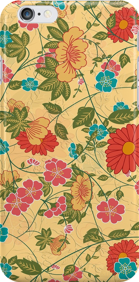 Colorful Flowers Collage Yellow Tones by artonwear