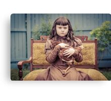 A Girl and Her Pet Chicken Canvas Print