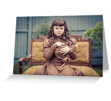 A Girl and Her Pet Chicken Greeting Card