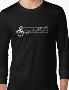 TAURUS - Words in Music - V-Note Creations (white text) Long Sleeve T-Shirt