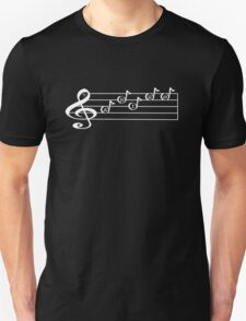 ARIES - Words in Music - V-Note Creations (white text) Unisex T-Shirt