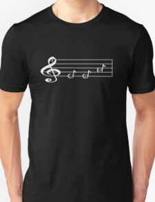 LEO - Words in Music - V-Note Creations (white text) Unisex T-Shirt