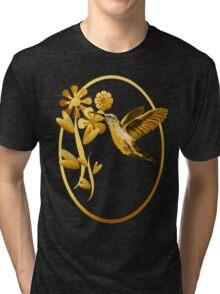 Gold Hummingbird Framed Tri-blend T-Shirt