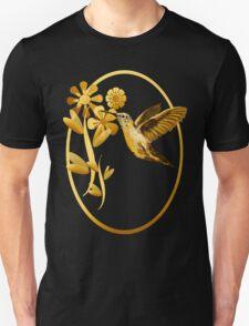Gold Hummingbird Framed Unisex T-Shirt