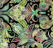 Colorful Vintage Floral Paisley Pattern by artonwear