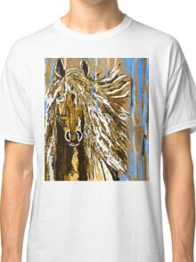 Horse:  Horse Running Wild Blue and Brown Classic T-Shirt