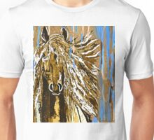 Horse:  Horse Running Wild Blue and Brown Unisex T-Shirt