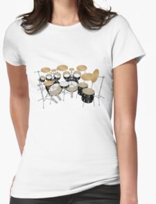 Black Drum Kit Womens Fitted T-Shirt