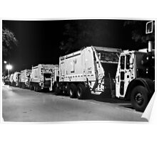 DSNY Garbage Trucks Parked Photo #3 Poster