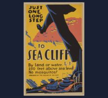 WPA United States Government Work Project Administration Poster 0635 Just One Long Step to Sea Cliff Kids Tee