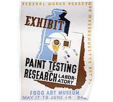 WPA United States Government Work Project Administration Poster 0096 Federal Works Agency Exhibit Paint Testing Research Laboratory Poster