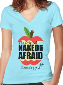 The Original Naked and Afraid Women's Fitted V-Neck T-Shirt