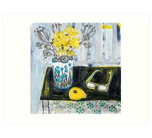 flowers and fabric 4 Art Print