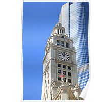 Chicago Clock Tower Poster