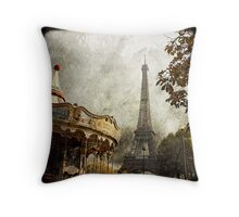 The Carousel and The Eiffel Tower Throw Pillow