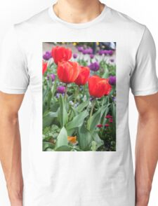 Red and purple tulips Unisex T-Shirt