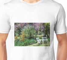 Chairs in garden setting Unisex T-Shirt
