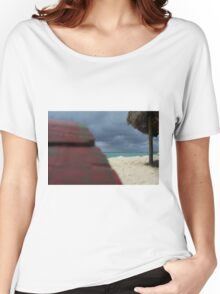 Red on Blue Women's Relaxed Fit T-Shirt