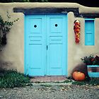 Turquoise Door with Ristra - Ranchos de Taos, NM by Lisa Blair