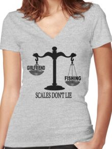 Scales Don't Lie... Women's Fitted V-Neck T-Shirt