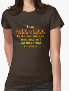 OCD & ADD - Maroon/Gold Womens Fitted T-Shirt