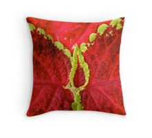 Red with Green Pearls Throw Pillow