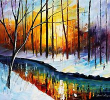 FORZEN STREAM - Original Art Oil Painting By Leonid Afremov by Leonid  Afremov