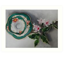 Tea and Blossoms - Antique Tea Cup and Floral Art Print
