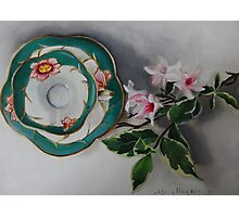 Tea and Blossoms - Antique Tea Cup and Floral Photographic Print