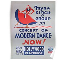 WPA United States Government Work Project Administration Poster 1097 Myra Kinch and Group Concert of Modern Dance Hollywood Playhouse Poster