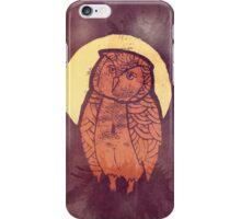 Owl Moon Linocut (dark tee) iPhone Case/Skin