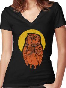 Owl Moon Linocut (dark tee) Women's Fitted V-Neck T-Shirt